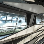 Kolon One & Only Tower – Morphosis Architects. architecture, building, daylighting, daytime, escalator, facade, glass, line, metropolitan area, structure, black, white, gray