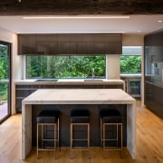 The island in this kitchen was designed without