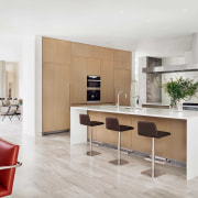 The kitchen is central to the breakfast area,