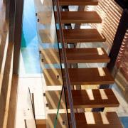 Roar Northcurlcurl House 33S daylighting, floor, flooring, handrail, hardwood, stairs, wood, brown