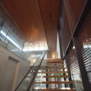 Roar Northcurlcurl House 34S architecture, beam, building, ceiling, daylighting, glass, handrail, interior design, stairs, structure, wood, red