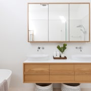 Consider whether you'd like to manage the project architecture, bathroom, bathroom accessory, bathroom cabinet, cabinetry, chest of drawers, drawer, floor, furniture, house, interior design, material property, plumbing fixture, property, room, shelf, sink, tap, tile, white