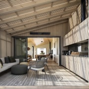 The substantial outdoor kitchen is in the outdoor