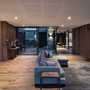 Boardform concrete contrasts with the timber on the