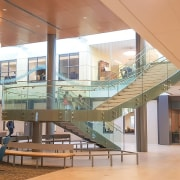 Rutgers University 2 - architecture | building | architecture, building, ceiling, daylighting, floor, flooring, glass, house, interior design, lobby, mixed-use, room, stairs, brown, orange