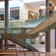 Rutgers University 3 - architecture | building | architecture, building, ceiling, daylighting, floor, glass, handrail, interior design, lobby, real estate, stairs, gray, brown
