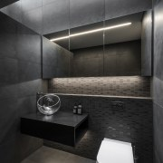 Careful use of lighting detail highlights the volume architecture, bathroom, bidet, black, building, ceramic, floor, flooring, house, interior design, material property, plumbing fixture, property, restroom, room, tap, tile, toilet, wall, black, gray