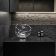 The custom-made natural stone vanity top with hidden architecture, bathroom, black, black-and-white, countertop, floor, flooring, glass, interior design, line, material property, monochrome, monochrome photography, photography, room, sink, still life photography, table, tile, wall, black