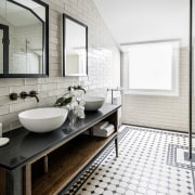 Black and white tiles in a classic pattern white