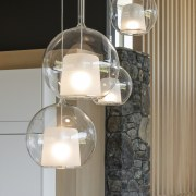 Contemporary pendants set off the modern, clean-lined kitchen
