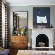 Bedroom – Joan Dineen townhouse - fireplace | floor fireplace, floor, furniture, hearth, home, interior design, living room, room, wall, gray