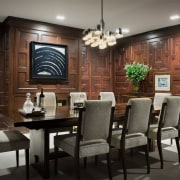 The panelling in this dining room probably dates dining room, furniture, interior design, restaurant, room, table, black, gray