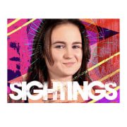 Sightings Promo album cover, forehead, graphic design, pink, product, purple, smile, text, violet, white