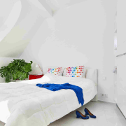 Bedroom in colourful Budapest apartment by Margeza Design bed, bed frame, bed sheet, bedroom, furniture, interior design, mattress, product, room, suite, white