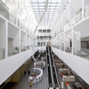 The generous, 28m-high atrium connects the ground floor