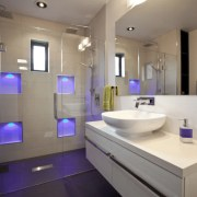 The Sereno alcove shower by Crest Shower Systems bathroom, home, interior design, purple, real estate, room, sink, gray