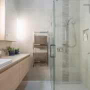 See the home bathroom, floor, home, interior design, property, room, tile, gray, white