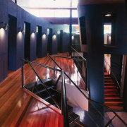 Upstairs in the Annex foyer - glass | glass, interior design, lighting, stairs, black