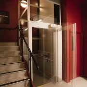 The elevator and stairway in the Annex - handrail, interior design, red, brown
