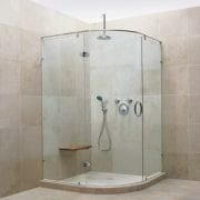 See the bathroom angle, bathroom, plumbing fixture, shower, tile, gray