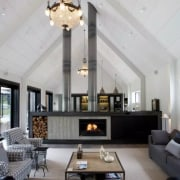 The large family living area beyond the formal ceiling, daylighting, interior design, living room, lobby, gray