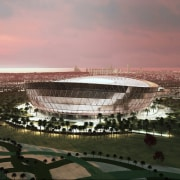 New look at Foster + Partners Lusail Stadium arena, city, cityscape, dusk, horizon, metropolis, metropolitan area, sky, sport venue, stadium, structure, urban area, gray, black