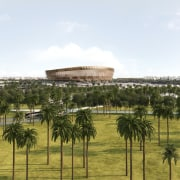 New look at Foster + Partners Lusail Stadium architecture, arecales, palm tree, structure, tree, white, brown