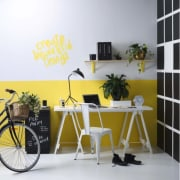 Resene - bicycle | bicycle wheel | chair bicycle, bicycle wheel, chair, design, desk, furniture, interior design, office, room, shelf, table, vehicle, wall, wallpaper, yellow, white