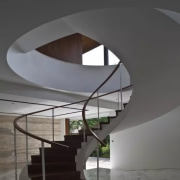 The circular shape of the oculus is echoed architecture, daylighting, design, handrail, house, interior design, room, stairs, black, gray