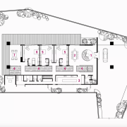 1 entry, 2 dining room, 3 kitchen, 4 artwork, diagram, drawing, floor plan, plan, technical drawing, white