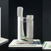 Body A, a 150 M residential tower, is cylinder, graduated cylinder, skyscraper, black