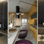 The black and white engineered benchtops are complemented architecture, bathroom, building, ceiling, countertop, floor, furniture, home, house, interior design, material property, plumbing fixture, property, purple, room, sink, tap, tile, black