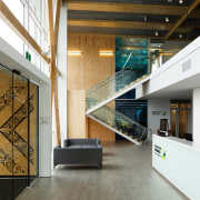 WINNER: Seafood Research Centre - architecture | daylighting architecture, daylighting, floor, glass, handrail, house, interior design, lobby, stairs, white