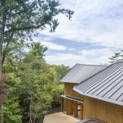 For Shishi-Iwa House, Japanese architect Shigeru Ban developed architecture, building, cottage, home, house, property, real estate, roof, room, siding, tree, white