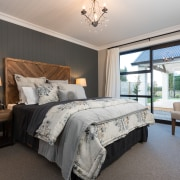 Texture is everywhere in the master bedroom –