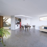 The lower level has polished concrete throughout for