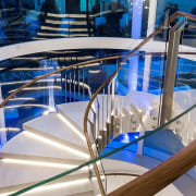Sorrento Residence 2 - architecture | blue | architecture, blue, design, glass, handrail, metal, stairs, table, gray, blue