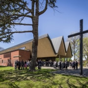 Education: St Andrews College Chapel by Architectus architecture, building, chapel, church, house, place of worship, plant, sky, tree, brown, teal