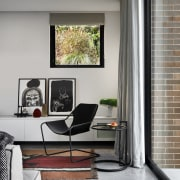 The concrete flooring and brick cladding make great
