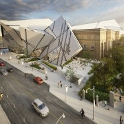 Render of the Royal Ontario Museum's new terrace architecture, building, city, design, facade, house, landscape, metropolitan area, mixed-use, residential area, urban area, urban design, gray
