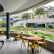 Titan Bangalore Workplace Cafeteria Purnesh 10 - apartment apartment, architecture, building, campus, condominium, courtyard, design, estate, facade, furniture, home, house, interior design, lobby, mixed-use, property, real estate, residential area, room, table, urban design, gray