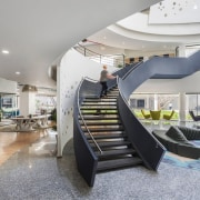 Titan Bangalore Workplace Lobby Staircase Purnesh 5 architecture, building, ceiling, design, furniture, home, house, interior design, lobby, property, real estate, room, stairs, gray