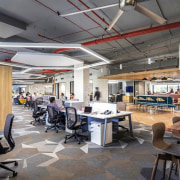 Open office, Purnesh - Titan Bangalore Workplace, Open architecture, building, cafeteria, ceiling, furniture, interior design, office, restaurant, room, table, gray