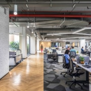 Titan Bangalore Workplace Open Office Purnesh 7 - architecture, building, ceiling, design, floor, flooring, furniture, interior design, loft, office, property, real estate, room, gray
