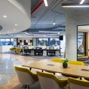 Titan Bangalore Workplace Open Office Purnesh - architecture architecture, building, cafeteria, ceiling, design, floor, flooring, furniture, house, interior design, office, property, real estate, restaurant, room, table, yellow, gray
