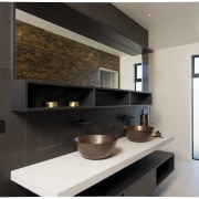 There's plenty of clean-lined built-in storage in this countertop, interior design, kitchen, property, room, black, white