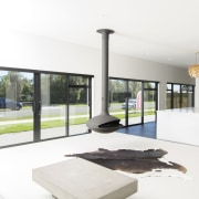 The expansive living, dining and kitchen zones make architecture, house, interior design, window, white