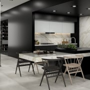 Universal Granite And Marbles Showroom - dining room dining room, floor, flooring, furniture, interior design, table, gray, black