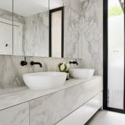Bathroom designed by architect Linda Simmons – see bathroom, countertop, floor, home, interior design, room, sink, tap, tile, gray