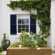 Vegie Patch By Landart Landscapes. Photography: Jason Busch backyard, courtyard, door, facade, flower, garden, home, house, outdoor structure, plant, real estate, window, yard, white, brown